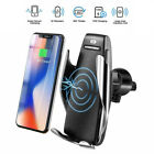 Auto-Clamping Sensor Qi Wireless Fast Charger Car Mount for Android IOS Phone US