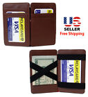 BROWN LEATHER MAGIC WALLET CREDIT CARD HOLDER MONEY CLIP with OUTSIDE ID WINDOW image