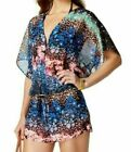 Rachel Roy Midnight Garden Floral Printed Tunic Cover Up Romper NWT