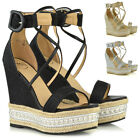 Womens High Heel Wedge Sandals Ladies Espadrilles Platform Ankle Strap Shoes