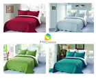 MiCasa 3 Piece Embroidery Quilt Bedspread Set Solid Colors Queen King image