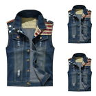 Men's Flag print Denim Vest Jeans Jacket Waistcoat Sleeveless Jacket Button USA