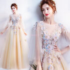 Women Long Chiffon Lace Evening Formal Ball Gown Prom Bride  Wedding Dresses