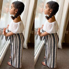 US Toddler Baby Girl Kid Off Shoulder Tops+Long Pants 2pcs Summer Clothes Outfit