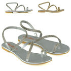 Womens Flat Strappy Sandals Diamante Ladies Toe Post Holiday Summer Shoes Size