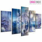 5PA467 Three Wolves Howling Ocean Wave Animal Multi Frame Canvas Wall Art Print