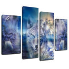 MA467 Three Wolves Howling Ocean Waves Canvas Wall Art Multi Frame Picture Print