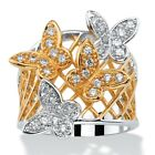 PalmBeach Jewelry .48 TCW CZ 18k Gold-Plated Two-Tone Butterfly Ring image