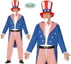 Mens Uncle Sam Fancy Dress Costume USA American Stag Party US Outfit fg