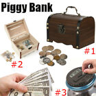 Wooden Bank Safe Money Box Savings With Lock Wood Carving Handmade Saving Case