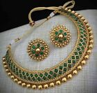 Indian Bollywood Elegant & Beautiful Ethnic Gold Necklace Jewelry Party Wear Set