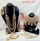 Kundan Pearl Gold Tone Choker Wedding Necklace 10 Pcs Bollywood Jewelry Combo