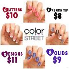 COLOR STREET 100% NAIL POLISH STRIPS WRAPS solid glitter french nail art design