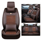 Universal Ice silk&PU Leather 5-Seats Car Seat Cover Protector Cushions Full Set