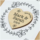 PERSONALISED Save The Date Cards with Envelopes Wooden Fridge Magnet Date Hearts