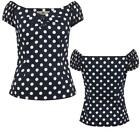 COLLECTIF DOLORES GYPSY BLOUSE TOP 50'S ROCKABILLY VINTAGE ALTERNATIVE POLKA DOT