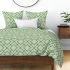 Mint Chinoiserie Cotton & Bamboo Trellis Aqua Sateen Duvet Cover by Roostery image