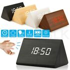 New Modern Wooden Wood Digital LED Desk Alarm Clock Thermometer Timer Calendar L