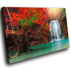 Red Tree Forest Waterfall Scenic Canvas Wall Art Large Picture Prints