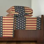 American Flag Americana Home Decor 100% Cotton Sateen Sheet Set by Roostery image