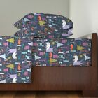 Woodland Beer, Deer, Trees, Forest 100% Cotton Sateen Sheet Set by Roostery