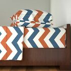 Orange Blue Rust Navy Chevron High 100% Cotton Sateen Sheet Set by Roostery image