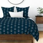 Anchor Nautical Kids Anchors Silver Glitter Navy Sateen Duvet Cover by Roostery image