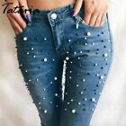Denims Women Skinny Jeans With Pearls Pants Slim Female Beading Mid Waist Pencil