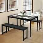 3 Piece Dining Set Table 2 Bench Chairs Wood Rectangle Kitchen Room Furniture
