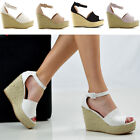 Womens Platform Wedges Ankle Strap Sandals Ladies Espadrilles Peeptoe Shoes Size
