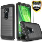 For Motorola Moto G6 Play Plus Forge Case Phone Cover +Tempered Glass Protector