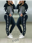 Womens Tracksuit Pink Letter Print 2 Piece Outfits Long Sleeve Jogging Yoga Set