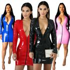 Sexy Short Dress Zippers Faux PU Leather High Elasticity Sheath Deep V Neck
