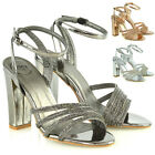 Womens Strappy Ankle Strap Sandals Ladies Block High Heel Party Bridal Shoes 3-8