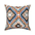 Watercolor Kilim Diamond Ikat Throw Pillow Cover w Optional Insert by Roostery