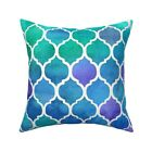 Moroccan Blue Watercolor Throw Pillow Cover w Optional Insert by Roostery