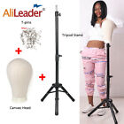 """50"""" Adjustable Black Tripod Stand Holder With Canvas Block Head For Wig 50 Tpins"""