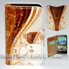 For HTC Series - Grungy Floral Theme Print Wallet Mobile Phone Case Cover