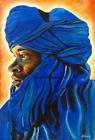 Berber Man Blue Limited Edition A4 A3 A2 PRINT of Original Oil Painting