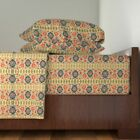 Floral Ancient Arabic Trellis Persian 100% Cotton Sateen Sheet Set by Roostery image
