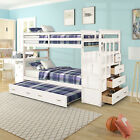 Wood Twin over Twin Bunk Bed Kids Teens Wooden with Storage Ladder and Trundle