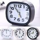 Square/Round Small Desk Alarm Clock Travel Quartz Analogue Mini Clocks Office
