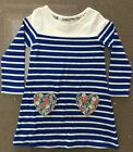 Girls Mini Boden Long Sleeve Striped Heart Pocket Dress