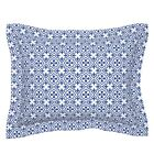 Fleur De Lis Tiled Geometric Blue White Moroccan And Pillow Sham by Roostery image