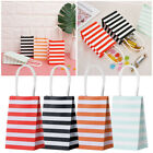 Cross Stripe Paper Party Loot Bags Handles Candy Bag Wedding Birthday Gift Bags~
