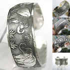Tibetan Silver Vintage Elephant Carved Open Bangle Cuff Wide Bracelet Jewelry Ne image