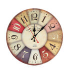 DIY Vintage Rustic Wooden Wall Clock Antique Shabby Retro Home Kitchen Decor