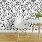 Removable Water-Activated Wallpaper Black And Circles Bubble Geometric Abstract