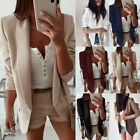 Plus Size Womens Ladies Blazer Casual Work Jacket Long Sleeve Outwear Suit Coat