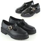 Womens Mary Jane Shoes Ladies T-Strap Buckle Geek Chunky Sole School Shoes